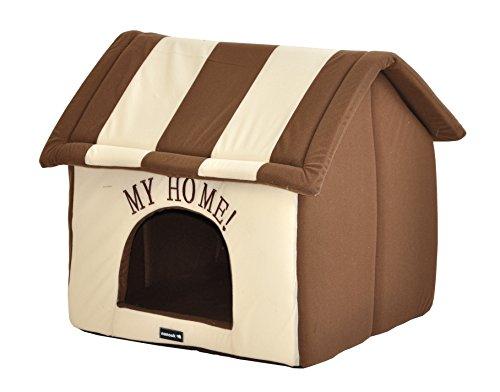 nanook Hundehaus Hundehöhle ADRIAN mit Kissen, weicher Stoff Bezug, waschbar, warm, braun beige - 3