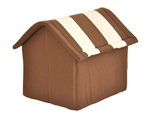 nanook Hundehaus Hundehöhle ADRIAN mit Kissen, weicher Stoff Bezug, waschbar, warm, braun beige - 4