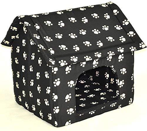 nanook Hundehöhle Chalet Black, Schwarz mit Pfoten
