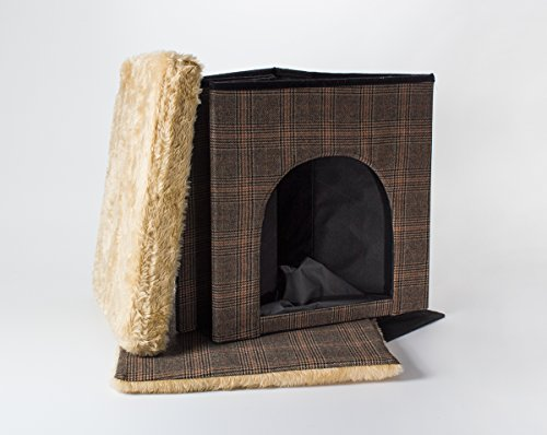 Hundehöhle und Hocker, Tweed-Optik, indoor - 3