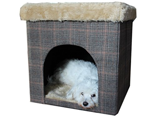 Hundehöhle und Hocker, Tweed-Optik, indoor - 6