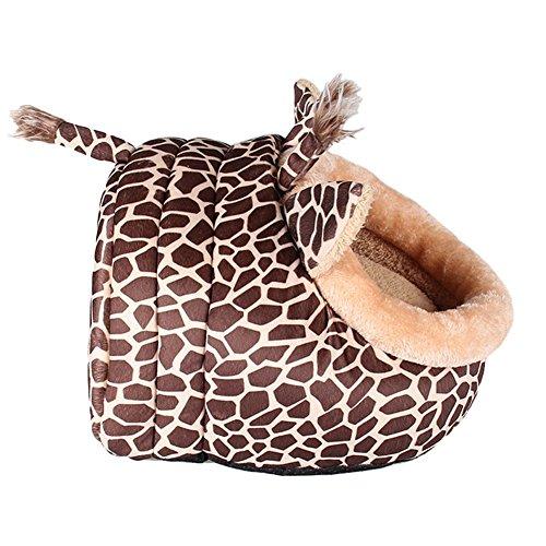 MAGIC UNION Hundehöhlemit Kissen für ihr Haustier in Braun Giraffe und 3 Größen(S/M/L) wählbar - 2