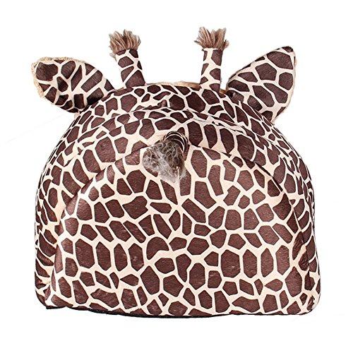 MAGIC UNION Hundehöhlemit Kissen für ihr Haustier in Braun Giraffe und 3 Größen(S/M/L) wählbar - 3