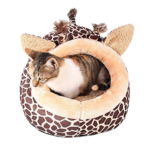 MAGIC UNION Hundehöhlemit Kissen für ihr Haustier in Braun Giraffe und 3 Größen(S/M/L) wählbar - 4