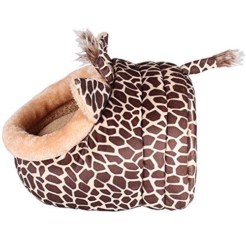 MAGIC UNION Hundehöhlemit Kissen für ihr Haustier in Braun Giraffe und 3 Größen(S/M/L) wählbar - 5