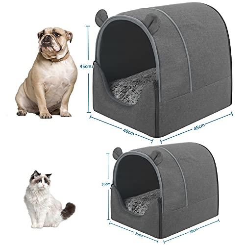 EUGAD Hundehaus Hundehöhle Katzenhaus Katzenhöhle für Französische Bulldogge Jack Russell Terrier Welpen Grau M 45x40x45cm 0021GD - 2