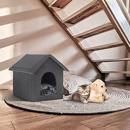 EUGAD 0012GD Hundehaus Hundehütte Katzenhaus Drinnen für kleine mittelgroße Hunde mit herausnehmbarer Matte Kissen 52x46x52cm - 2