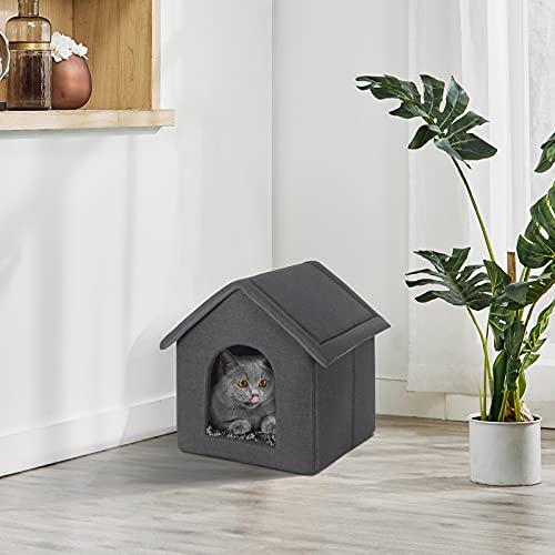 EUGAD 0012GD Hundehaus Hundehütte Katzenhaus Drinnen für kleine mittelgroße Hunde mit herausnehmbarer Matte Kissen 52x46x52cm - 3