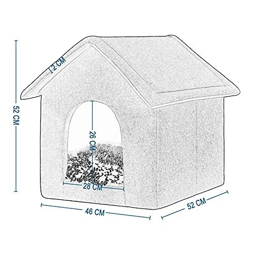 EUGAD 0012GD Hundehaus Hundehütte Katzenhaus Drinnen für kleine mittelgroße Hunde mit herausnehmbarer Matte Kissen 52x46x52cm - 7