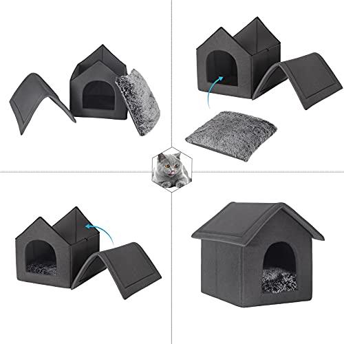 EUGAD 0012GD Hundehaus Hundehütte Katzenhaus Drinnen für kleine mittelgroße Hunde mit herausnehmbarer Matte Kissen 52x46x52cm - 8