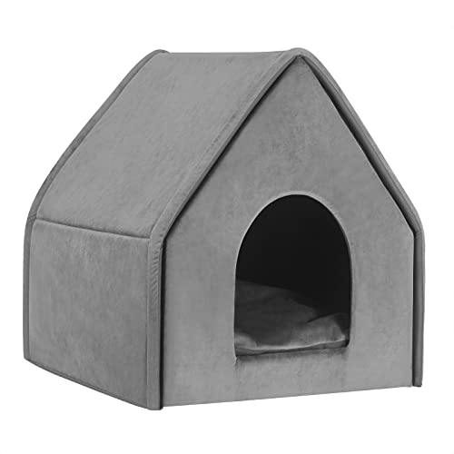 Hundehaus für Border Collie Grau XL 60x55x60cm