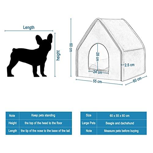 EUGAD Hundehaus Hundehöhle Katzenhaus Katzenhöhle für Border Collie Englischer Springer Grau XL 60x55x60cm 0019GD - 2