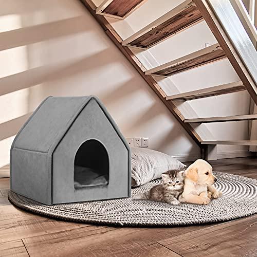 EUGAD Hundehaus Hundehöhle Katzenhaus Katzenhöhle für Border Collie Englischer Springer Grau XL 60x55x60cm 0019GD - 9