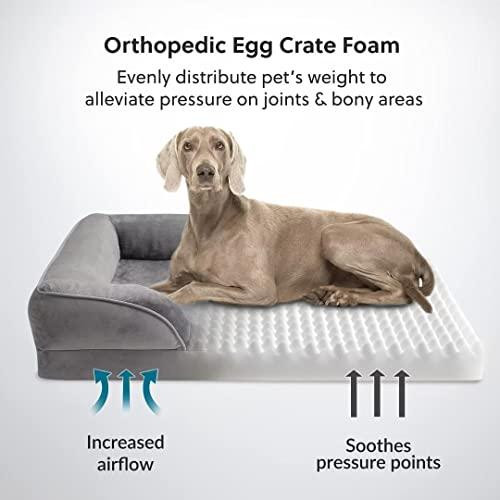 Bedsure orthopädisches Hundebett Ergonomisches Hundesofa - Hundecouch mit eierförmiger Kistenschaum für große Hunde, waschbar rutschfest Hundebetten, Größe in 106x80 cm - 2