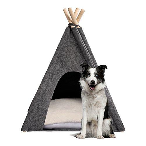 MYANIMALY Tipi Zelt für Haustiere, Katzenzelt, Haustierbett, Haustierhütte für Hunde und Katzen mit beidseitig anwendbarem Kissen, Gestell aus Kiefernholz (100 x 100 cm, Grau/Ecru) - 2