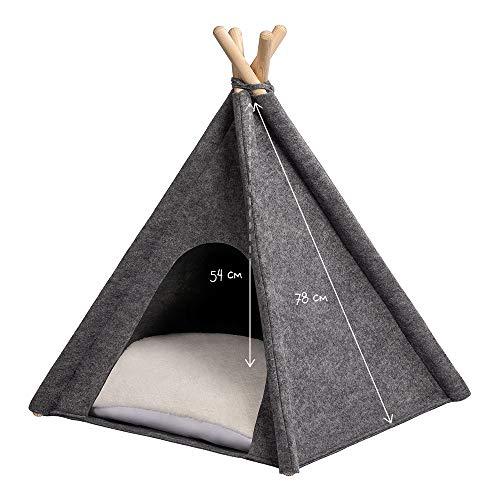MYANIMALY Tipi Zelt für Haustiere, Katzenzelt, Haustierbett, Haustierhütte für Hunde und Katzen mit beidseitig anwendbarem Kissen, Gestell aus Kiefernholz (100 x 100 cm, Grau/Ecru) - 3