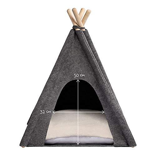 MYANIMALY Tipi Zelt für Haustiere, Katzenzelt, Haustierbett, Haustierhütte für Hunde und Katzen mit beidseitig anwendbarem Kissen, Gestell aus Kiefernholz (100 x 100 cm, Grau/Ecru) - 4