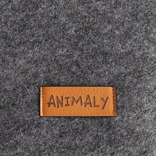 MYANIMALY Tipi Zelt für Haustiere, Katzenzelt, Haustierbett, Haustierhütte für Hunde und Katzen mit beidseitig anwendbarem Kissen, Gestell aus Kiefernholz (100 x 100 cm, Grau/Ecru) - 6