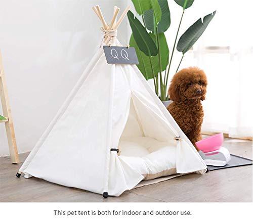 Sunnykud Tipi Zelt für Haustiere Hundezelt Katzenzelt Haustierzelte Häuser mit Kissen Abnehmbar und Waschbar Haustierbett Wegklappen Haustier Zelt Möbel Hundebett Katzenbett 50x50x60cm - 2