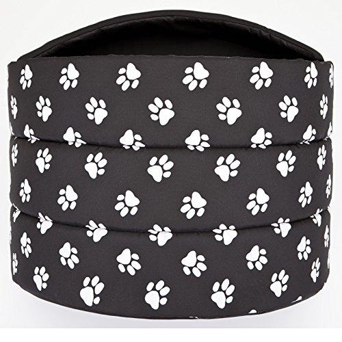Hobbydog R4 Buscwl5 Hundehütte Souffleur, Größe 4, 60x49cm Schwarz Mit Pfötchen, XL, Schwarz Mit Pfötchen - 4