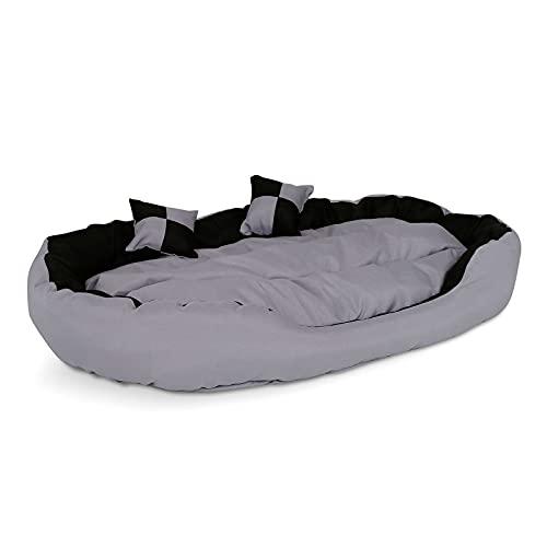 4-in-1 Hundebett mit Wendekissen (L) 110x80 cm schwarz/grau