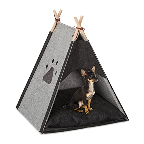 Relaxdays Hundezelt aus Filz & Holz, mit Kissen, 70,5 x 59,5 x 59 cm, hellgrau