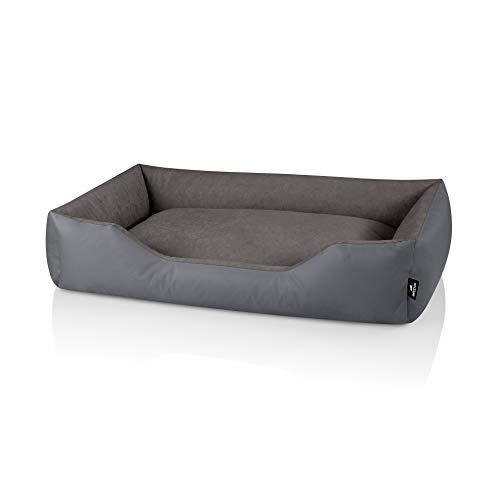 BedDog® Hundebett Zara aus Cordura, Microfaser-Velours, XXL, Steel-Grey