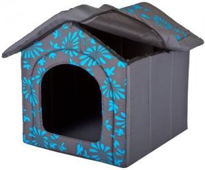 Hundehöhle Blaue Blumen Katzenhöhle Hundehütte Hundebett Katzenbett S-XL (XL 60x55cm) - 3