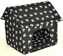 nanook große Hunde-Höhle, Hunde-Haus CHALET BLACK XL (60 x 58 cm), Schwarz mit Pfoten - 1