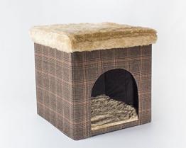Hundehöhle / Katzenhöhle und Hocker, Tweed-Optik, 50x50x50 cm, indoor - 1