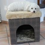 Hundehöhle / Katzenhöhle und Hocker, Tweed-Optik, 50x50x50 cm, indoor - 7